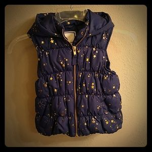 Gymboree Navy Blue Gold Star Hooded Puffer Vest